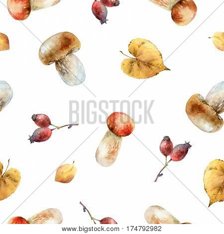 Bright autumn seamless pattern with mushrooms, leaves, and berries. Watercolor illustration