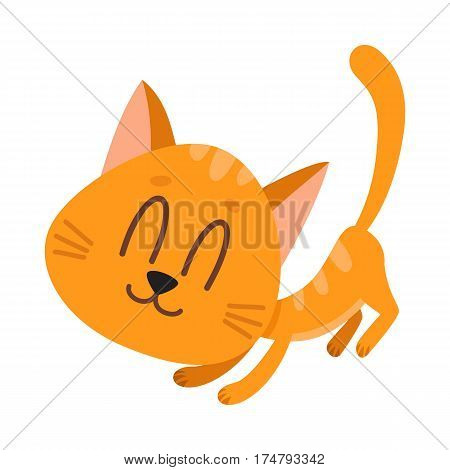 Cute and funny red cat character, fawning, asking for caress, cartoon vector illustration isolated on white background. Cute and funny red cat character, nice and sweet with tail up