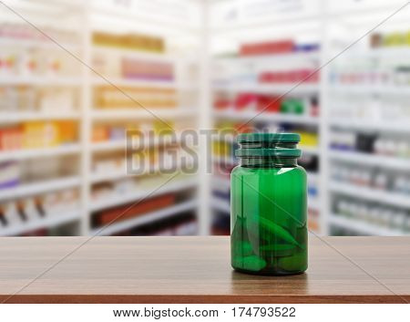 Pill bottle on table top on blurred pharmacy store and drug store