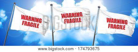 warning fragile, 3D rendering, triple flags