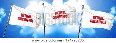 ritual sacrifice, 3D rendering, triple flags