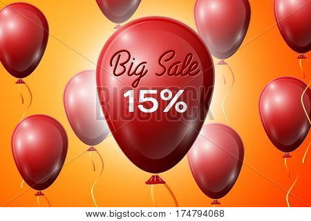 Red Balloons with an inscription Big Sale fifteen percent Discounts. SALE concept for shops store market, web and other commerce. Vector illustration.