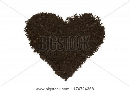 Heart shape dirt isolated on white background