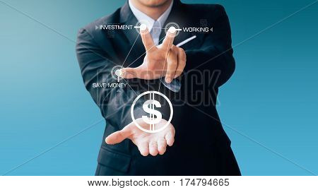 Business Man Press Button About Money And Invest