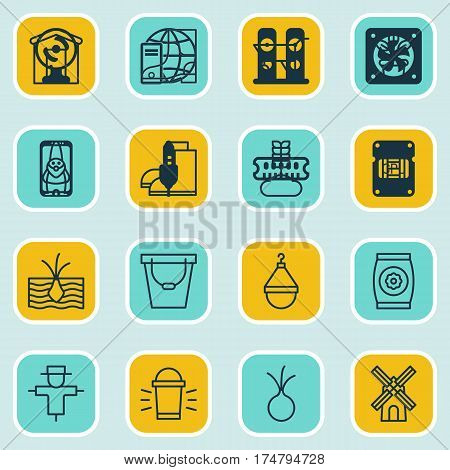 Set Of 16 Farm Icons. Includes Pail, Gardening Shoes, Cereal And Other Symbols. Beautiful Design Elements.