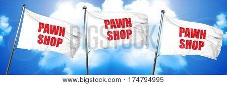 pawn shop, 3D rendering, triple flags