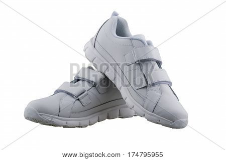 White leather shoes on a white background isolate