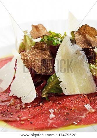 Beef Carpaccio with Salad, Nero e Bianco Tartufo  (Black & White Truffle)