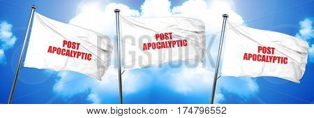 post apocalyptic, 3D rendering, triple flags