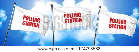 polling station, 3D rendering, triple flags