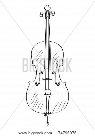 Isolated outline of a cello, Vector illustration