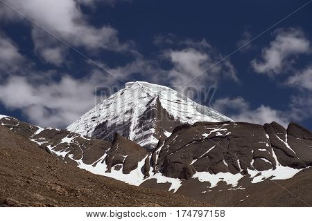 The Northwest rib of Sacred Mount Kailash in Western Tibet.