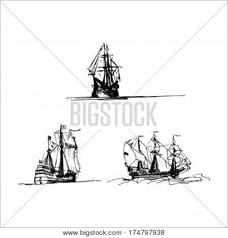 Vector set of sailing galleon ships in the ocean in ink line style. Hand sketched old warships. Marine theme design