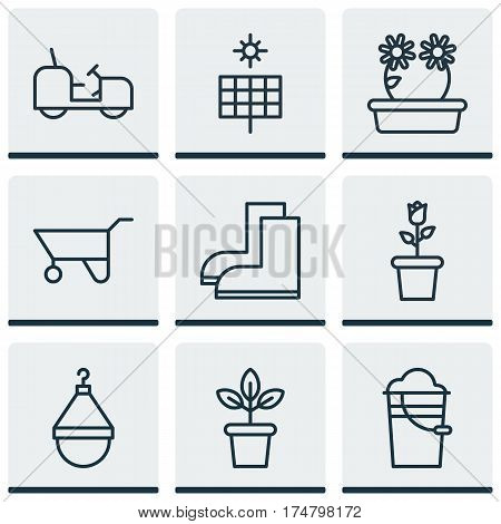 Set Of 9 Agriculture Icons. Includes Wheelbarrow, Bucket, Hanger And Other Symbols. Beautiful Design Elements.