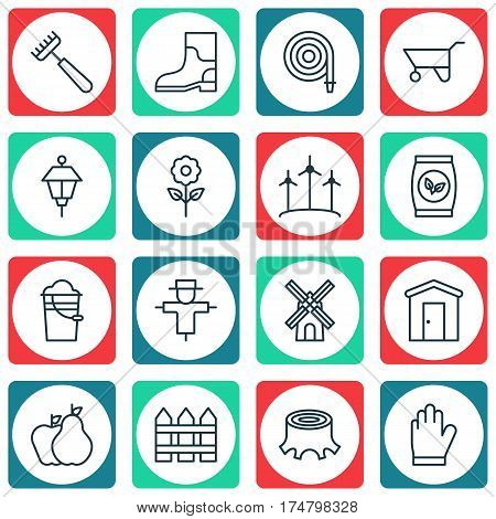 Set Of 16 Farm Icons. Includes Barrier, Rubber Boot, Fire Tube And Other Symbols. Beautiful Design Elements.
