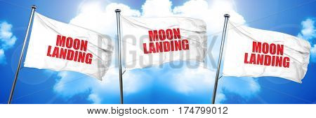 moon landing, 3D rendering, triple flags