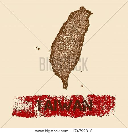 Taiwan Distressed Map. Grunge Patriotic Poster With Textured Country Ink Stamp And Roller Paint Mark