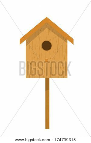 Wooden birdhouse on a white background isolate. Small house for birds in Cartoon style. Birdhouse illustration. Stock vector