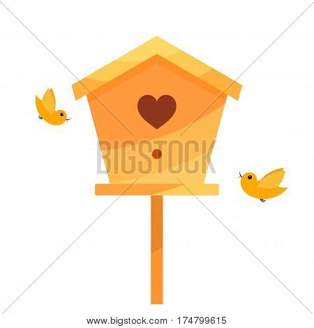 Yellow Cartoon birdhouse on a white background with two birds. Isolate. Bird house with the heart. Symbol of family happiness. Stock vector