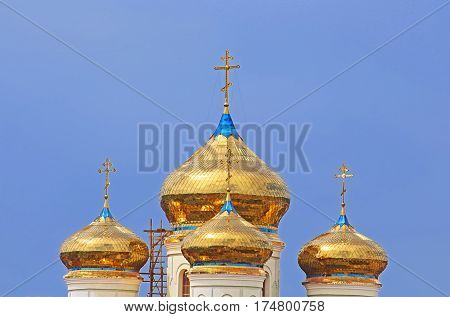 Domes of Cyril and Methodius Cathedral in Khust,Ukraine