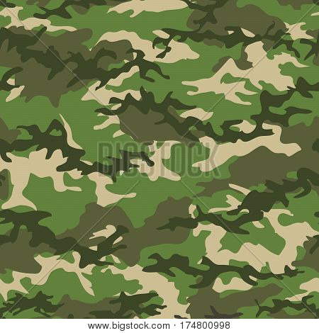 Camouflage seamless pattern background with green spots. Military camouflage pattern. Fashionable camouflage textile. Military print. Seamless vector wallpaper. Clothing style masking. Repeat print.
