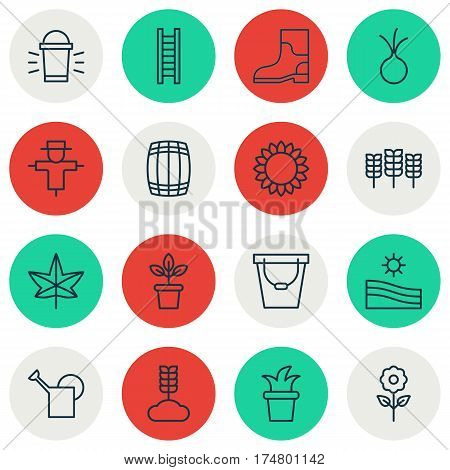 Set Of 16 Farm Icons. Includes Pail, Wheat, Bailer And Other Symbols. Beautiful Design Elements.