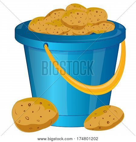 Plastic pail with potatoes on white background is insulated
