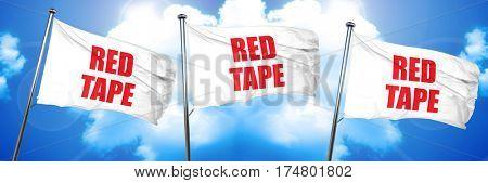 red tape, 3D rendering, triple flags
