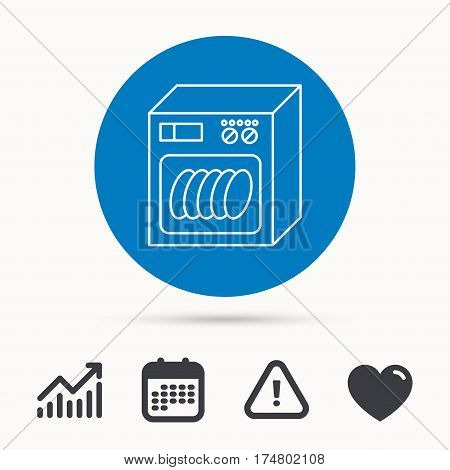 Dishwasher icon. Kitchen appliance sign. Calendar, attention sign and growth chart. Button with web icon. Vector