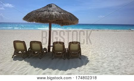 Morning on a Cancun beach in Mexico