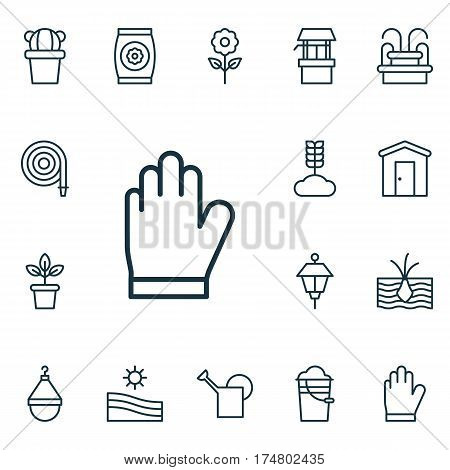Set Of 16 Planting Icons. Includes Bucket, Cereal, Fertilizer And Other Symbols. Beautiful Design Elements.