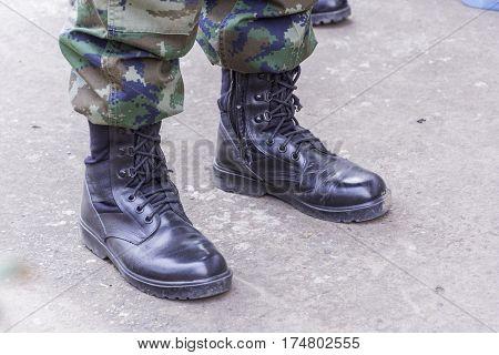 black combat boots military royal thai navy
