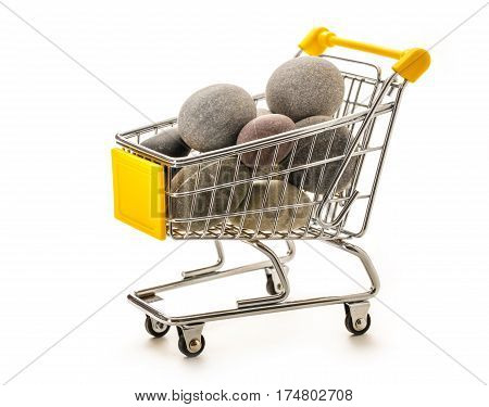 Sea Stones In Small Supermarket Pushcart