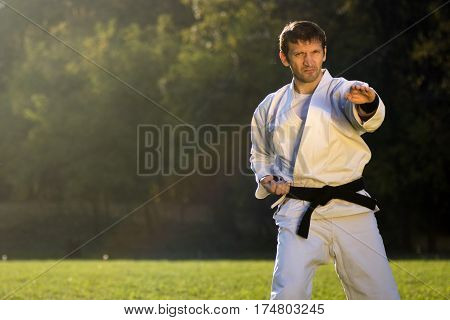 The karate master is practicing outdoors in the park.