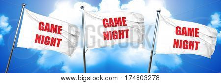 Game night sign, 3D rendering, triple flags