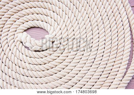Rope Tied Cercle On The Boat Background