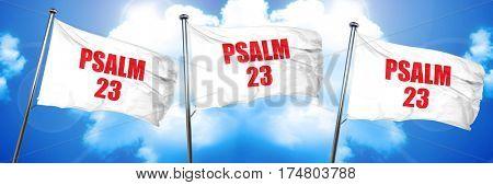 psalm 23, 3D rendering, triple flags
