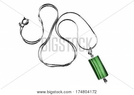 Malachite pendant on silver chain isolated over white