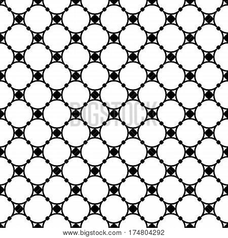Vector monochrome seamless pattern, subtle geometric texture, illustration of thin mesh, round lattice with nodes. Black & white simple abstract repeat background. Design for decoration, tileable print, textile, digital, web