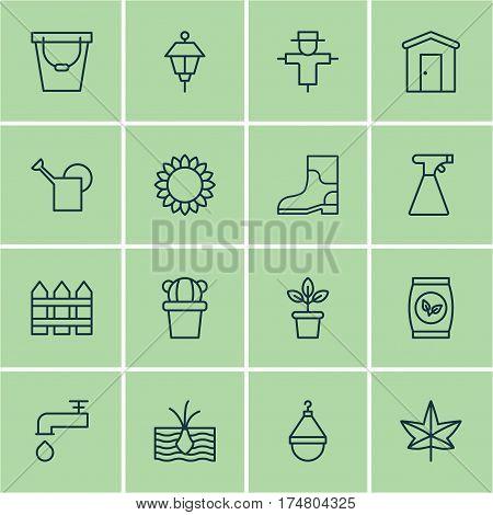 Set Of 16 Plant Icons. Includes Pail, Autumn Plant, Lantern And Other Symbols. Beautiful Design Elements.