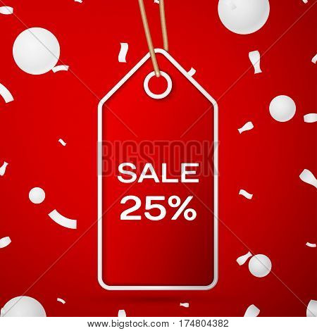 Red pennant with an inscription Big Sale twenty five percent Discounts over a red background and confetti. Sale concept for shops store market, web and other commerce. Vector illustration