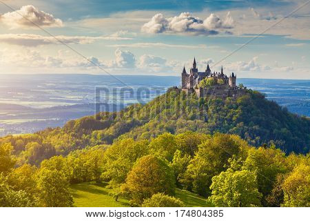 Aerial view of famous Hohenzollern Castle ancestral seat of the imperial House of Hohenzollern and one of Europe's most visited castles in beautiful golden evening light Baden-Wurttemberg Germany