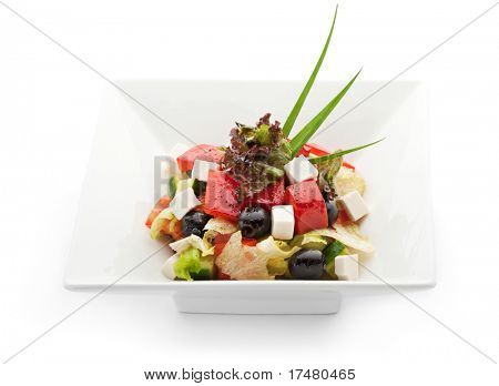 Greek Salad with Tomatoes, Cubed Feta Cheese, Olives, Cucumber and other Vegetables