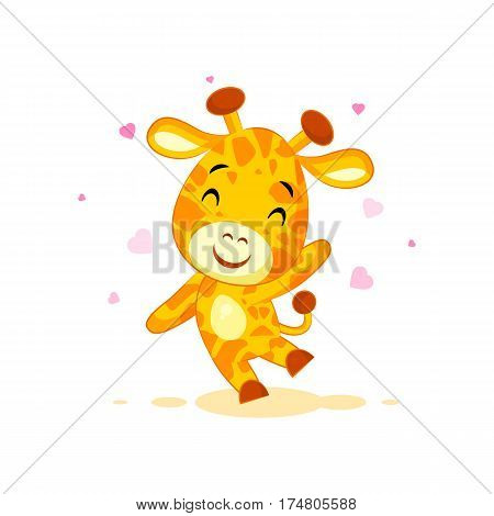 Vector Stock Illustration isolated Emoji hello hi waving in love hearts you are cute character cartoon Giraffe sticker emoticon for info graphic video animation website mail newsletter report comic.