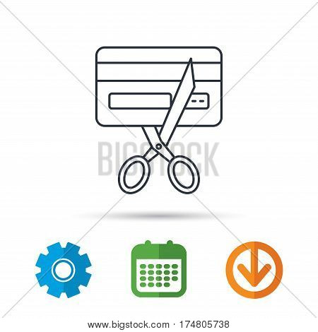Expired credit card icon. Shopping sign. Calendar, cogwheel and download arrow signs. Colored flat web icons. Vector