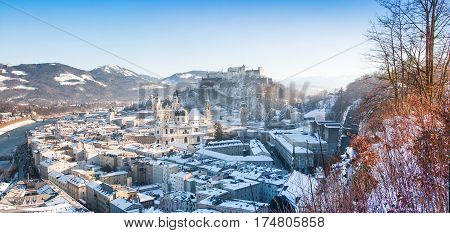 Panoramic View Of The Historic City Of Salzburg In Winter, Salzburger Land, Austria