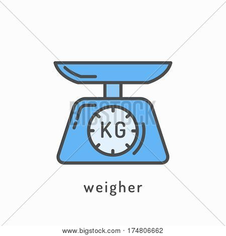 Weigher icon. Slimming loss weight and balanced healthy rational diet concept