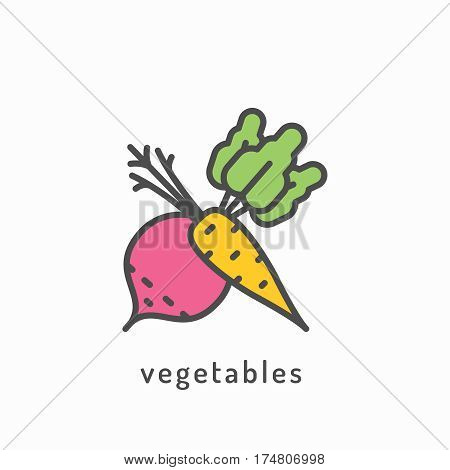 Vegetables icon. Healthy diet, organic vegetarian food concept