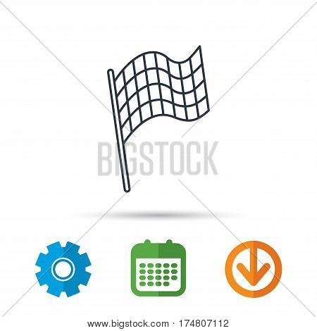 Finish flag icon. Start race sign. Calendar, cogwheel and download arrow signs. Colored flat web icons. Vector