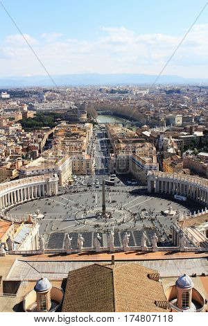 View of St Peter's Square from the roof of St Peter's Basilica, Vatican City, Rome, Italy in summer day
